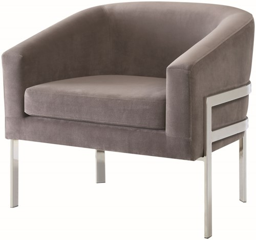 Coaster Accent Seating Contemporary Accent Chair in Linen-Like Fabric with Exposed Metal Frame