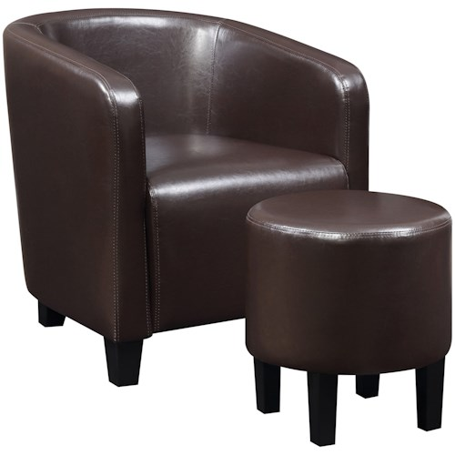 Coaster Accent Seating Brown Leatherette Accent Chair and Ottoman