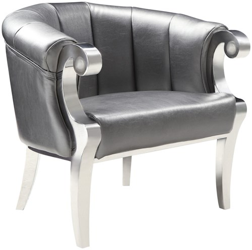 Coaster Accent Seating Glam Accent Chair with Scroll Armrests