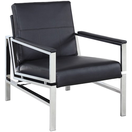 Coaster Accent Seating Contemporary Accent Chair with Black Leatherette