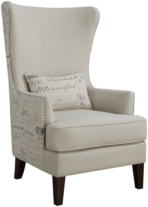 Coaster Accent Seating Winged Accent Chair with Script Back