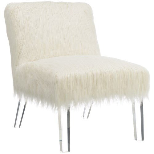 Coaster Accent Seating Faux Sheepskin Chair with Acrylic Legs