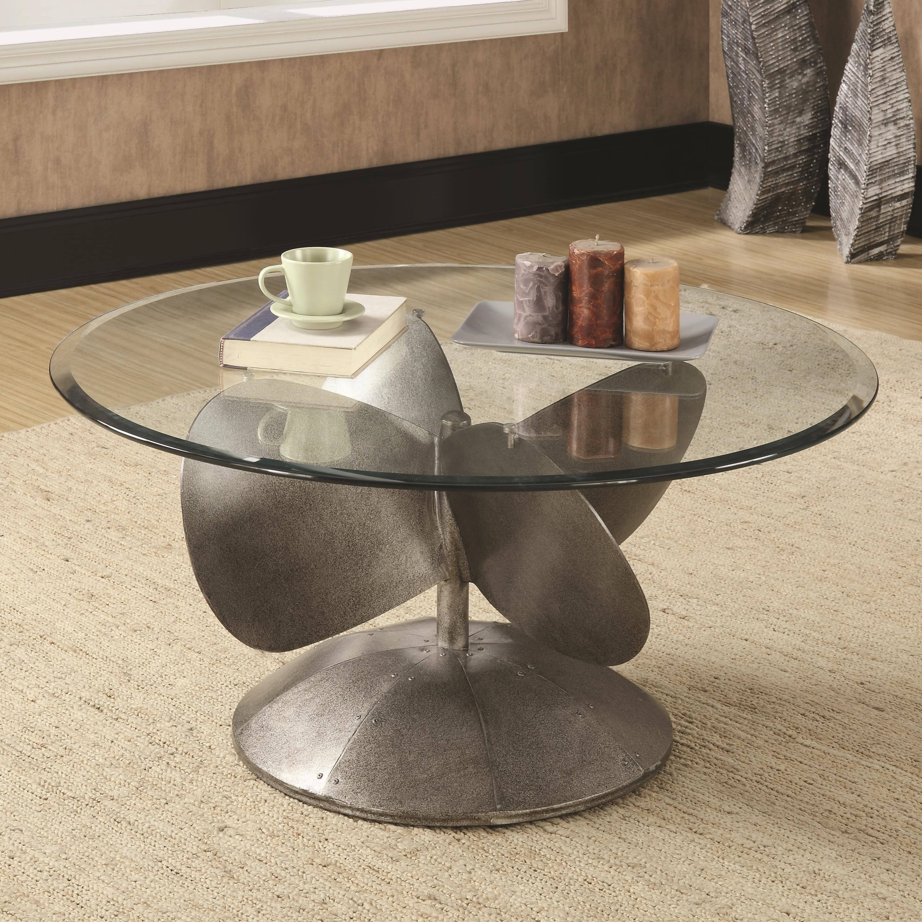 - Coaster Accent Tables Industrial Coffee Table With Propeller Base