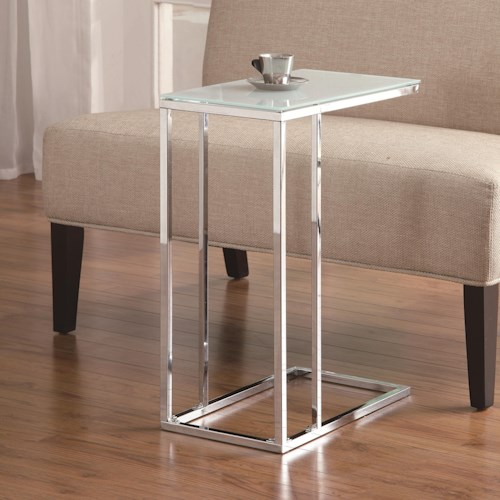 Coaster Accent Tables Chrome Snack Table with Frosted Tempered Glass Top