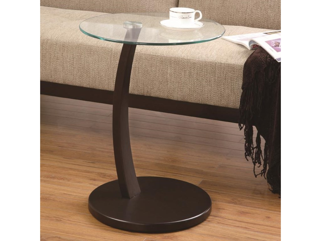a7f378a3f0d9 Accent Tables Round Accent Table with Round Glass Table Top by Coaster