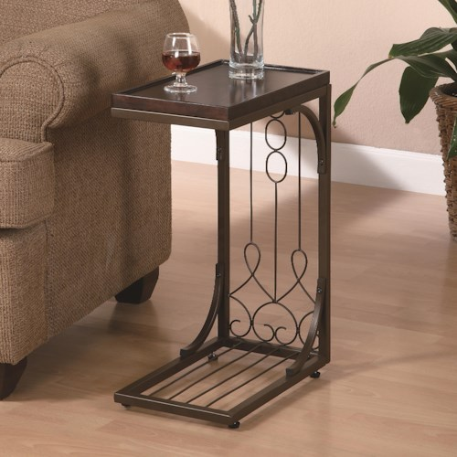 Coaster Accent Tables Small Brown Snack Table with Burnished Cooper Base