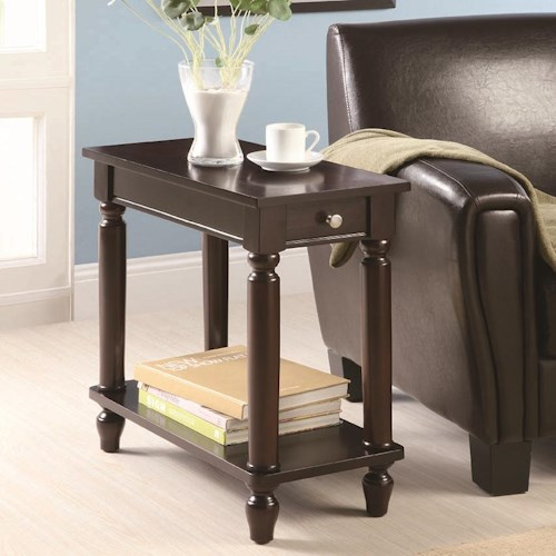 Coaster Accent Tables Cappuccino Chairside Table with Lower Shelf