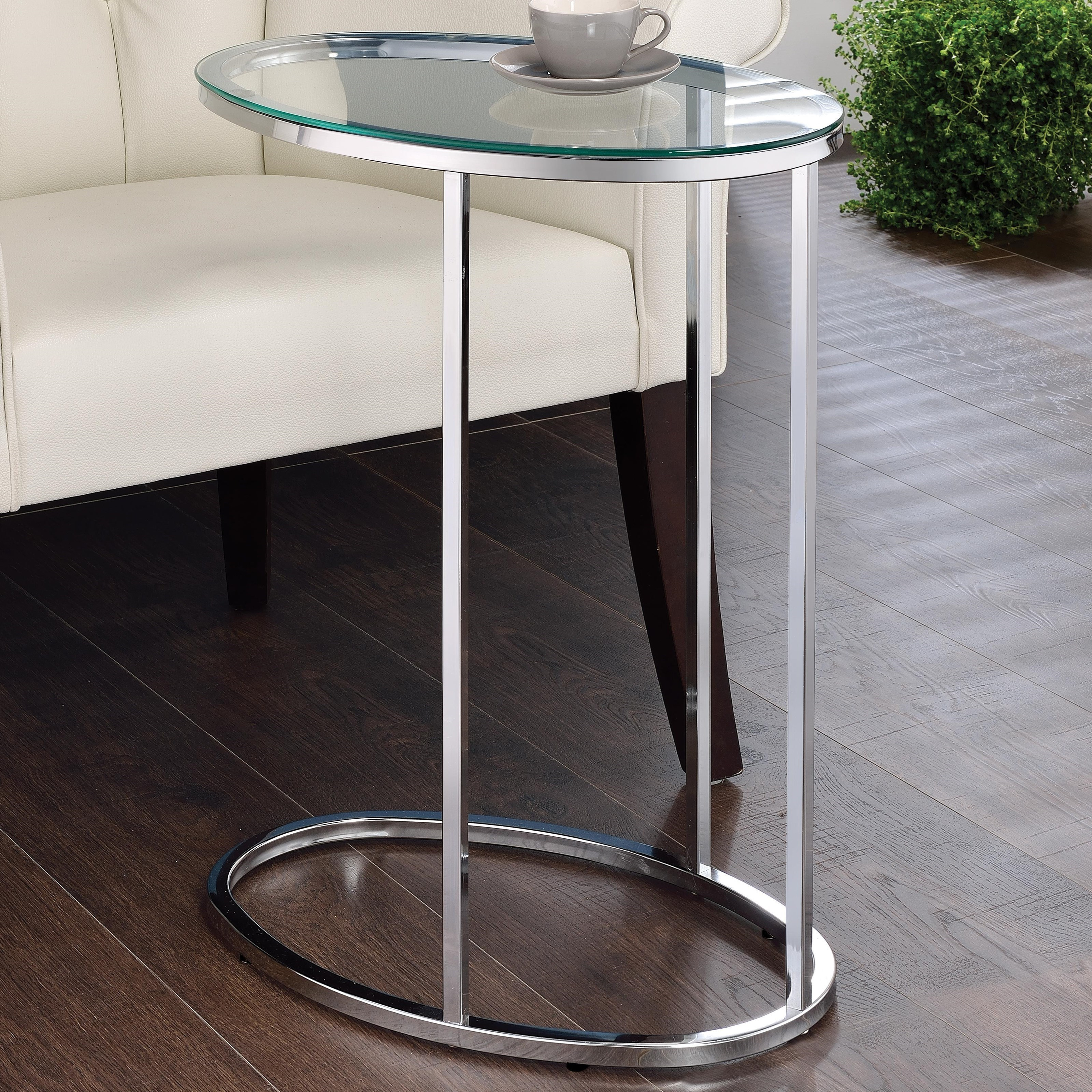 Glass Top Contemporary Snack Table