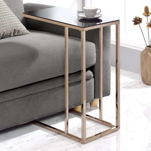 Coaster Accent Tables Black Glass Top Snack Table