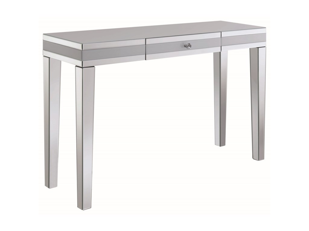 Accent tables contemporary console table with mirrored panels by coaster
