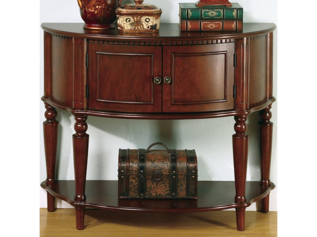 Coaster Accent Tables Brown Entry Table with Curved Front & Inlay