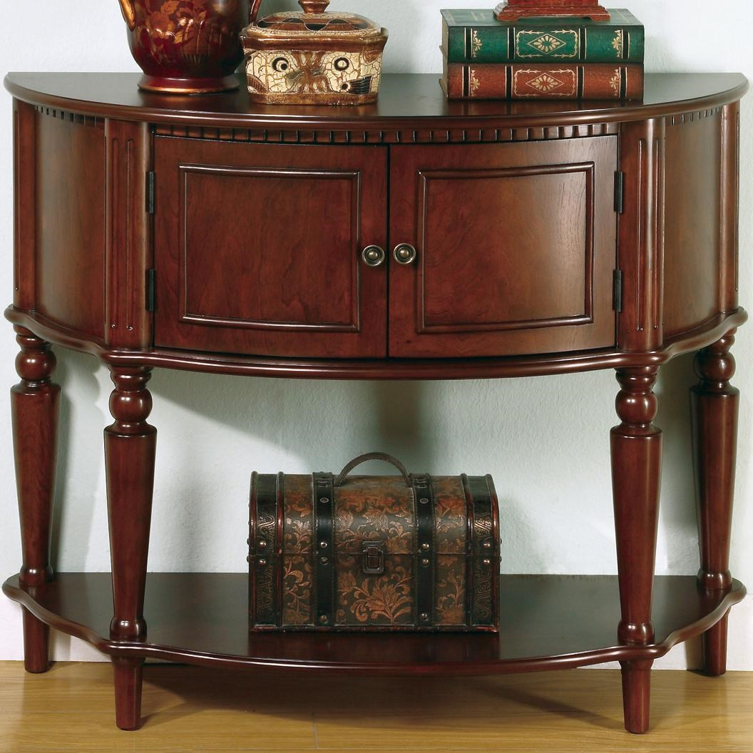 Charming Coaster Accent Tables Brown Entry Table With Curved Front U0026 Inlay Shelf