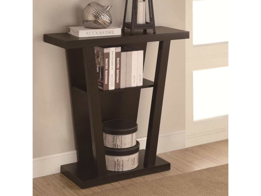 accent tables angled cappuccino entry table with storage space by coaster - Entry Table