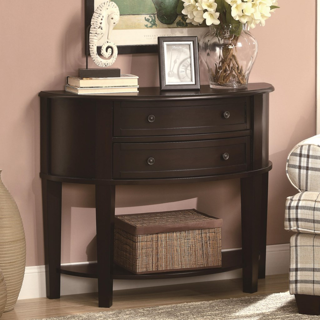 Accent tables demilune entry sofa table by coaster