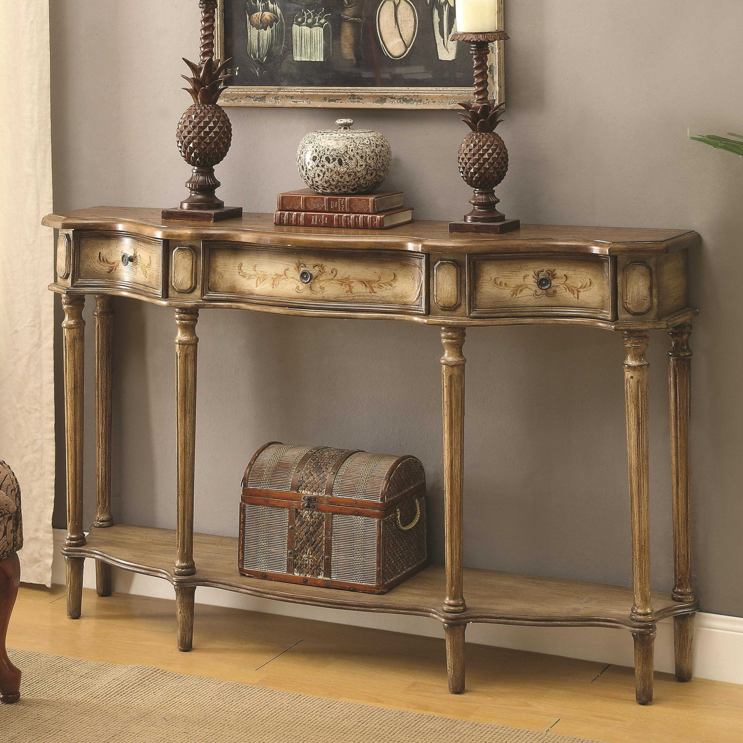 High Quality Coaster Accent Tables Traditional Breakfront Console Table