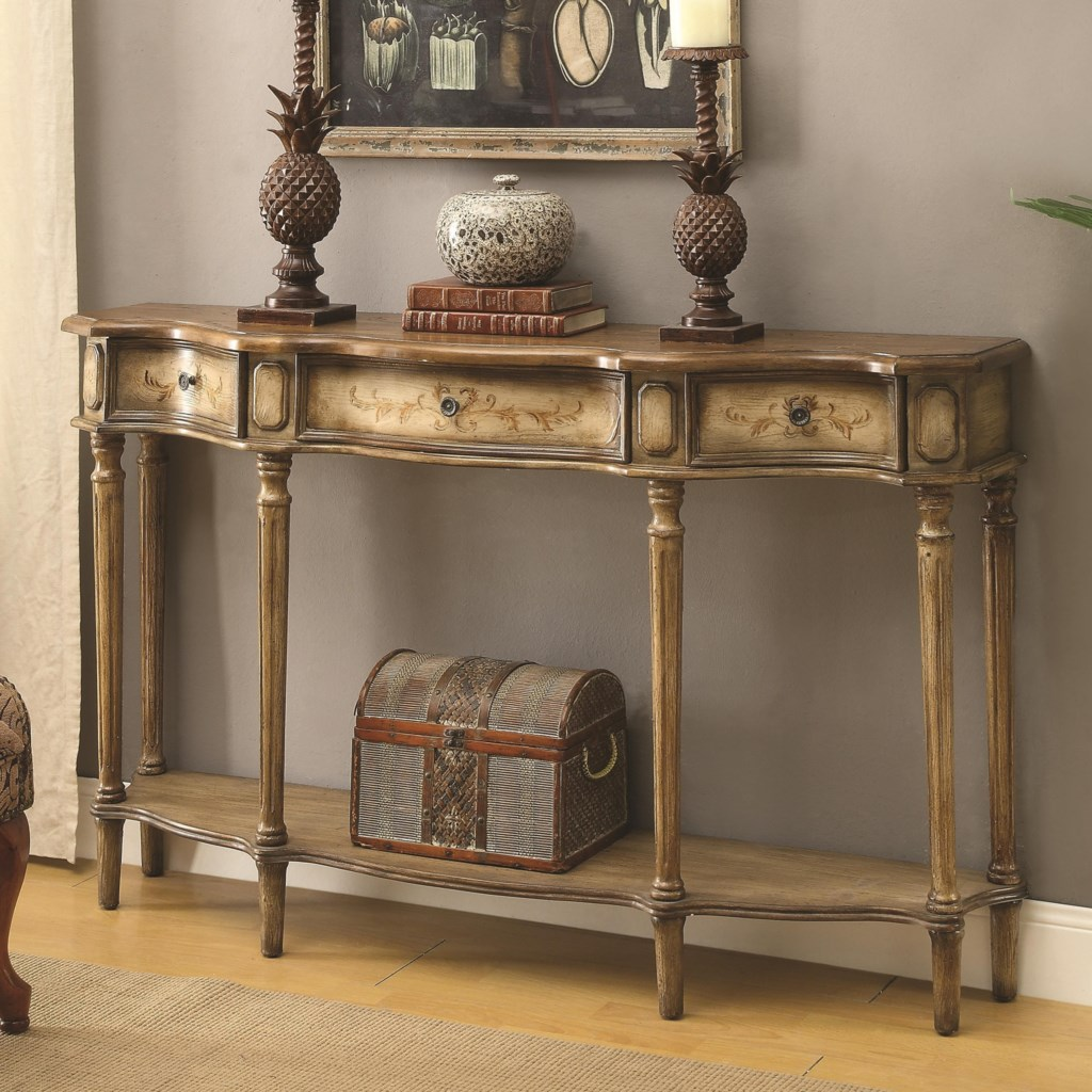 Coaster Accent Tables 950574 Traditional Breakfront Console Table  ~ Sofa Server Accent Table