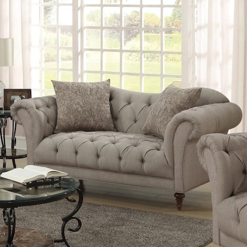 Coaster Alasdair Upholstered Loveseat with Button Tufting