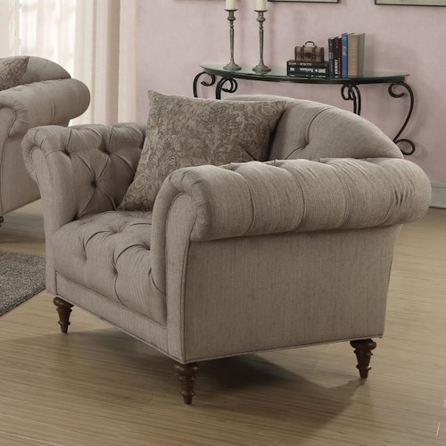 Coaster Alasdair Chair with Button Tufting and Rolled Arms