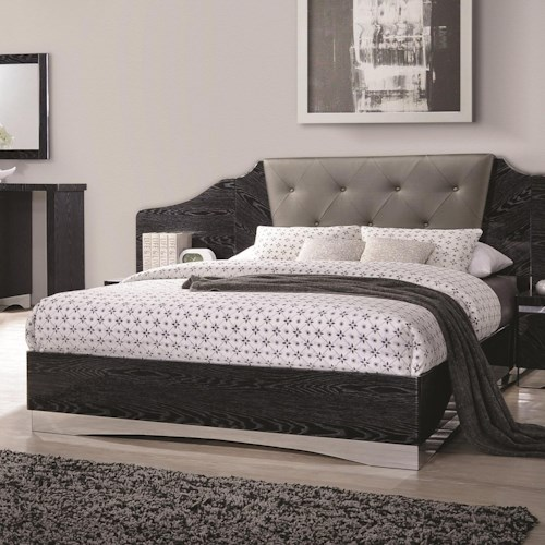 Coaster Alessandro King Low Profile Bed with Upholstered Panel Headboard
