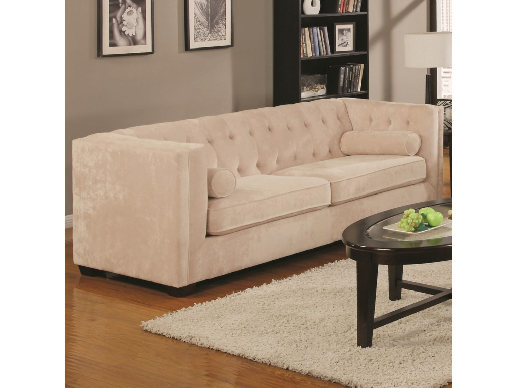Coaster Alexis Transitional Chesterfield Sofa With Track Arms A1 Furniture Mattress Sofas
