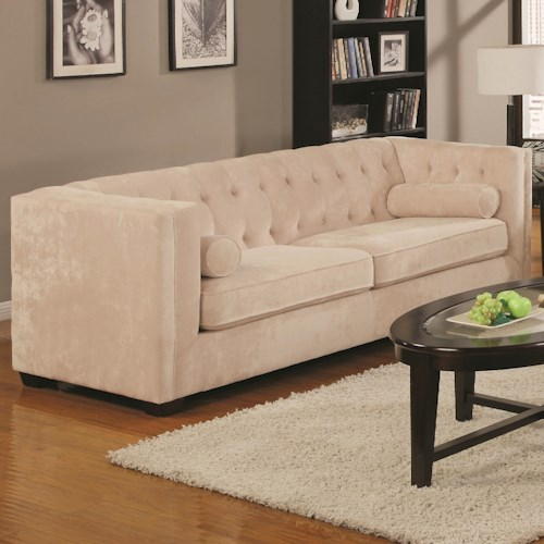 Coaster Alexis Transitional Chesterfield Sofa with Track Arms