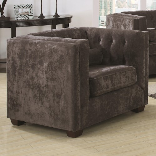 Coaster Alexis CH Transitional Upholstered Chesterfield Chair with High Track Arms
