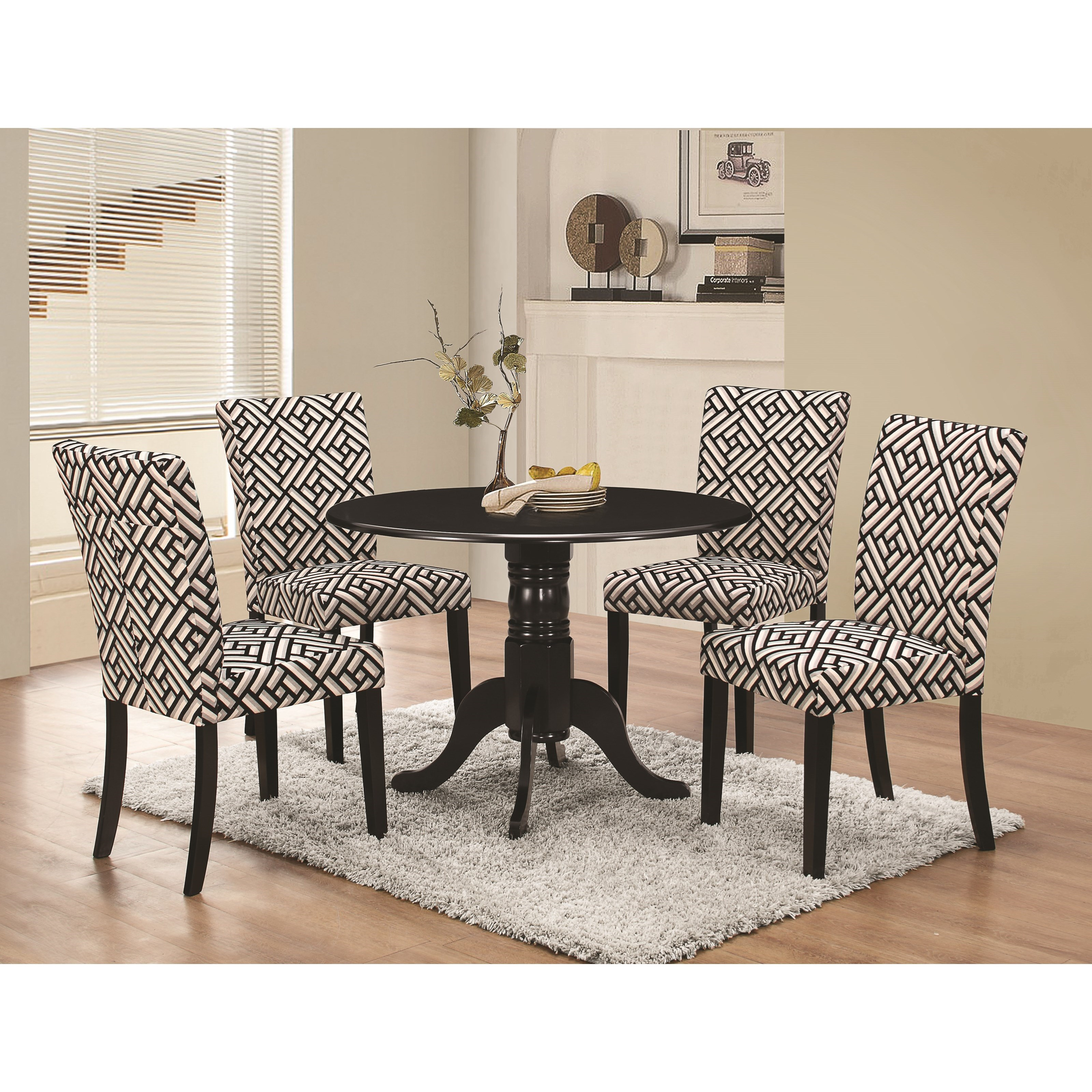 coaster allston round pedestal 5 pc table & chair set - value city