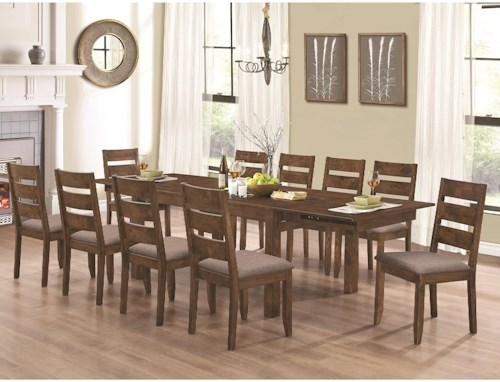 Coaster Alston Rustic Table and Ten Chair Set