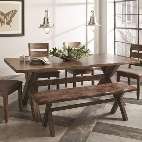Coaster Alston Rustic Dining Table with Wavy Edge