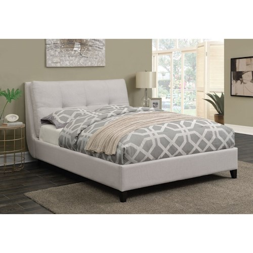 Coaster Amador Upholstered King Platform Bed With Pillow Top Headboard