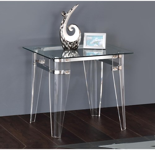 Coaster Amaranth Contemporary Glass Top End Table