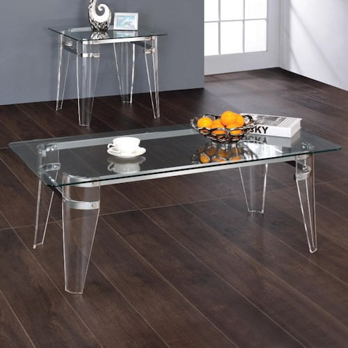 Coaster Amaranth Contemporary Glass Top Coffee Table