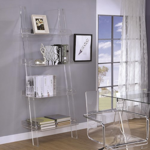 Coaster Amaturo Acrylic Ladder Bookcase