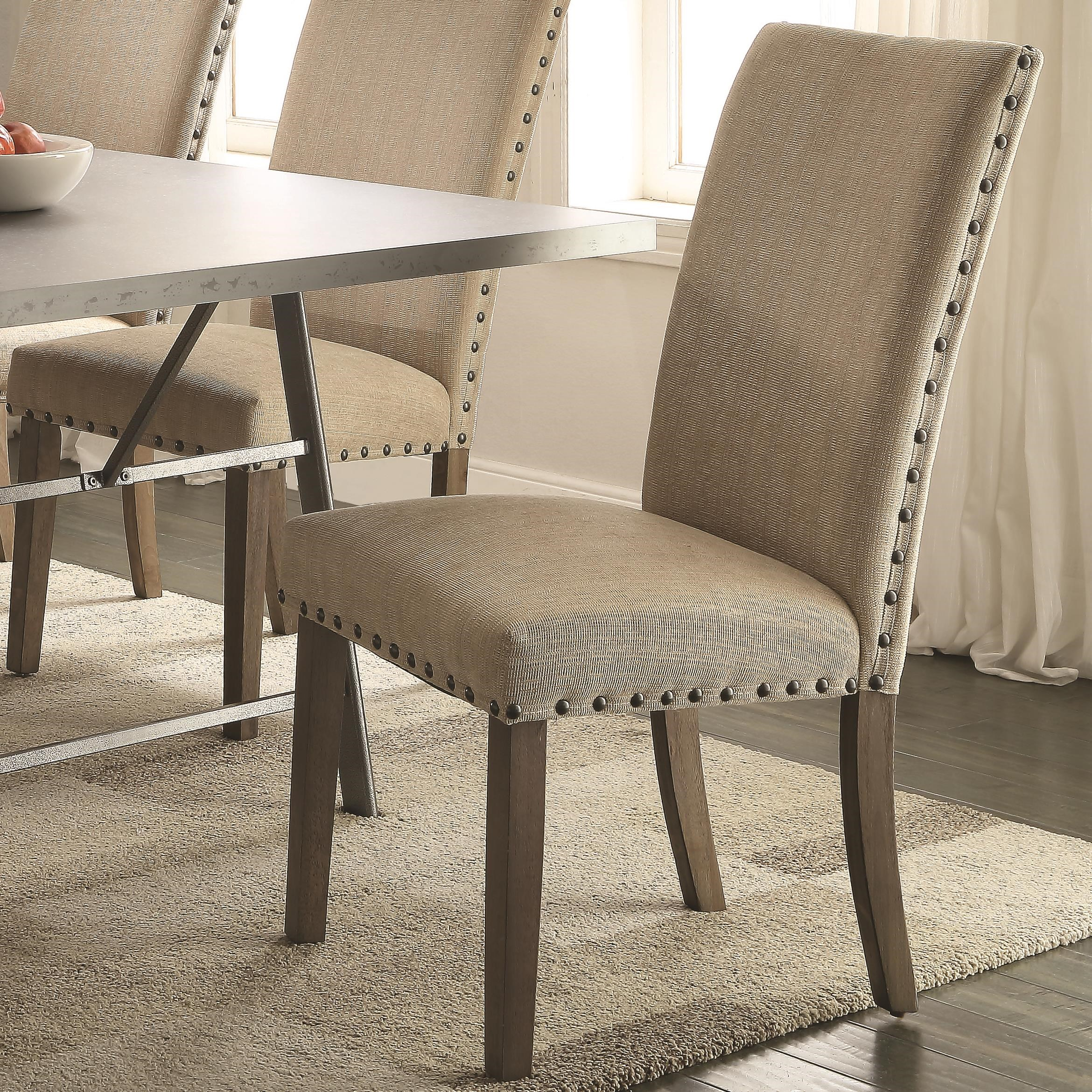 fabric dining chairs with nailheads. coaster amherst casual parson chair with tan fabric upholstery and nailhead trim dining chairs nailheads e