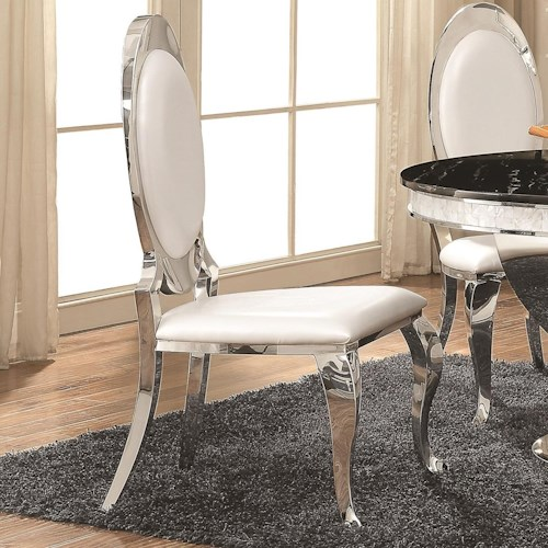 Coaster Anchorage Pearlized Cream Leatherette Side Chair with Chrome Finish