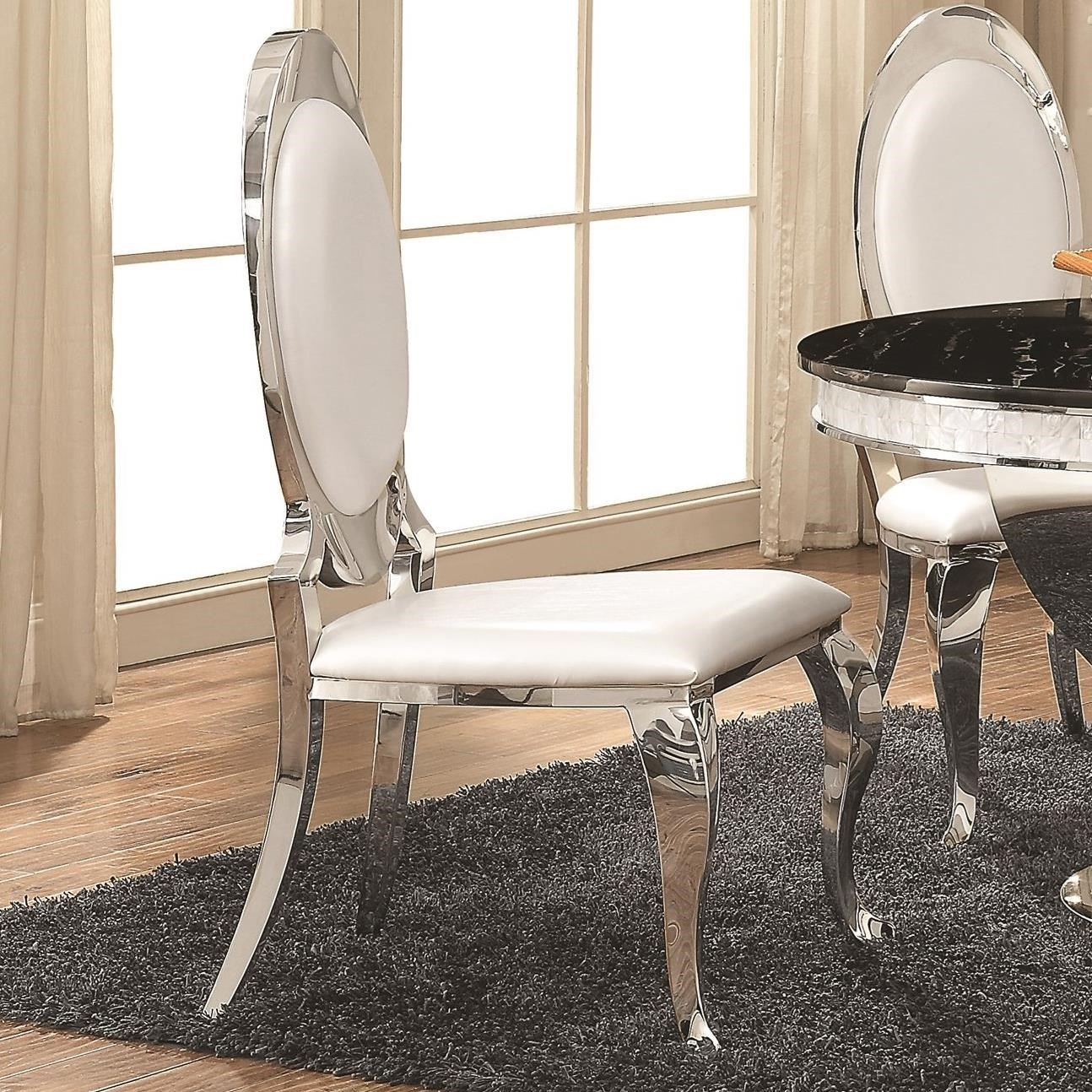 Coaster Anchorage Pearlized Cream Leatherette Side Chair With Chrome Finish    Becku0027s Furniture   Dining Side Chairs