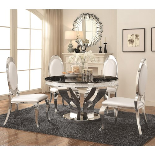 Coaster Anchorage Faux Marble and Chrome Stainless Steel 5 Piece Dining Table Set