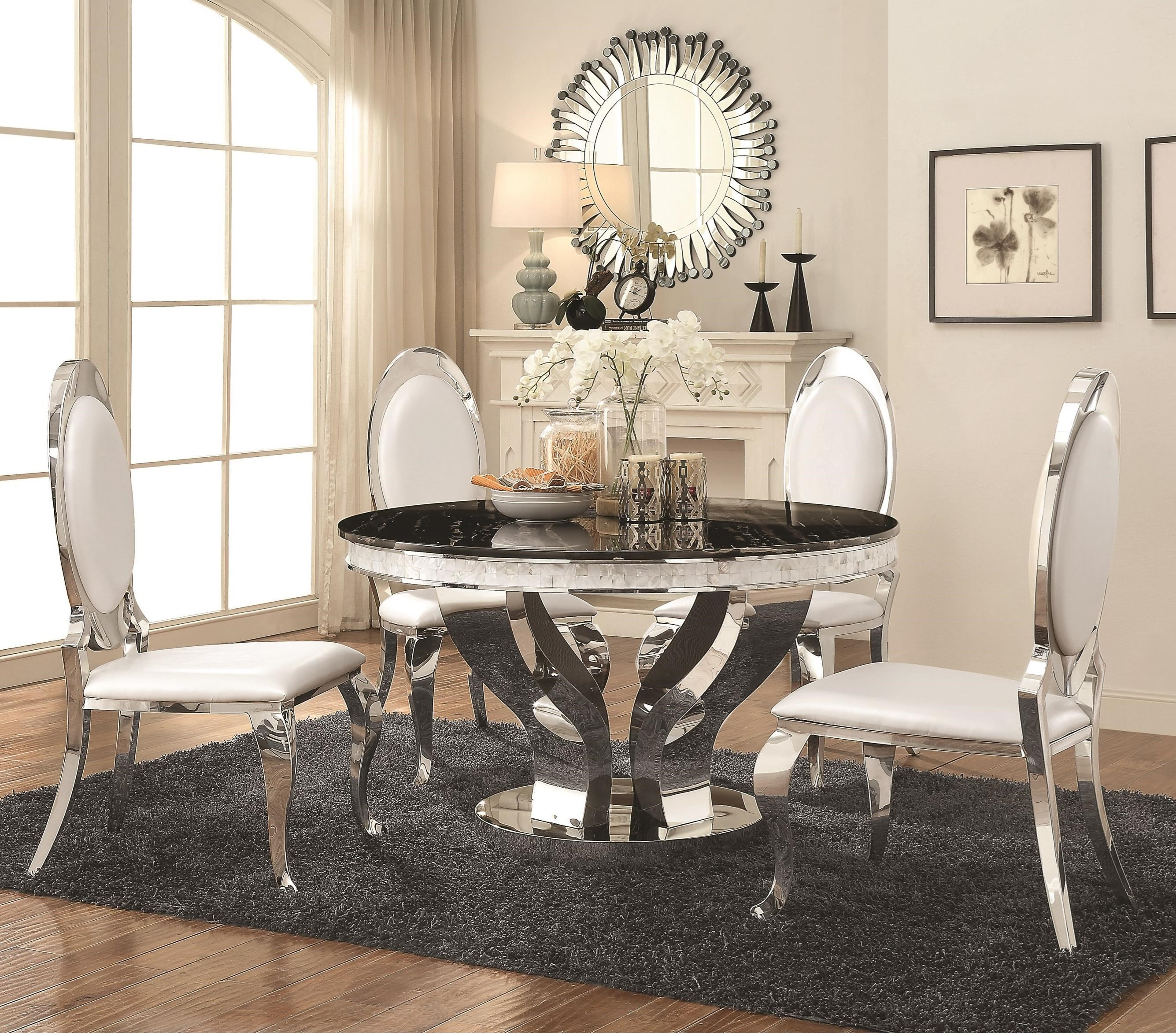 Coaster Anchorage Faux Marble And Chrome Stainless Steel 5 Piece Dining  Table Set | Becku0027s Furniture | Dining 5 Piece Sets