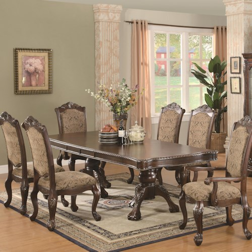 Coaster Andrea 7 Piece Double Pedestal Dining Table and Cushion Back Chair Set