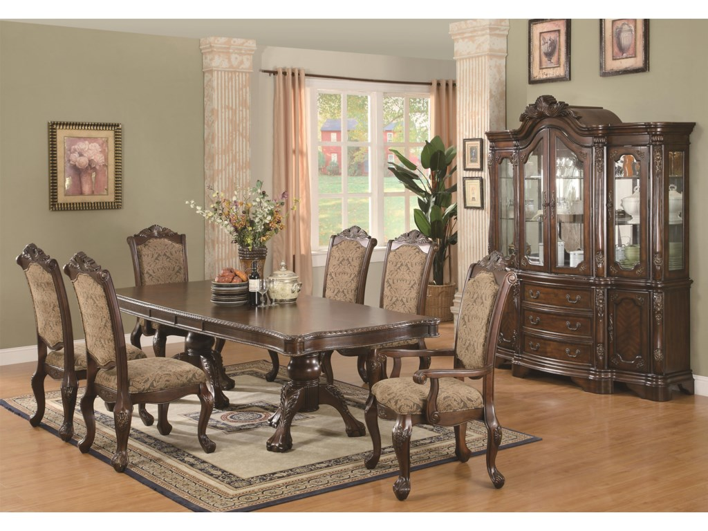 Shown With Side Chair, Dining Table, And China Hutch Set