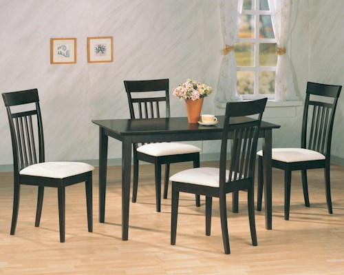 Coaster Andrews 5 Piece Dining Set with Upholstered Chairs