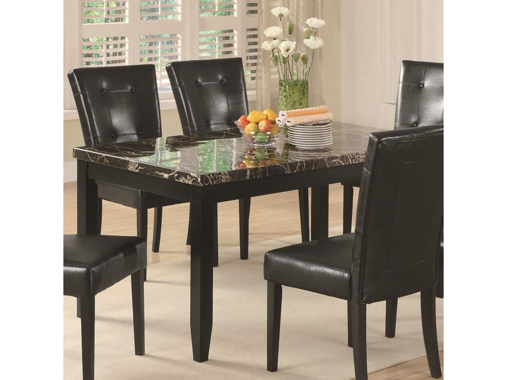 Coaster AnisaDining Table with Black Faux Stone Top