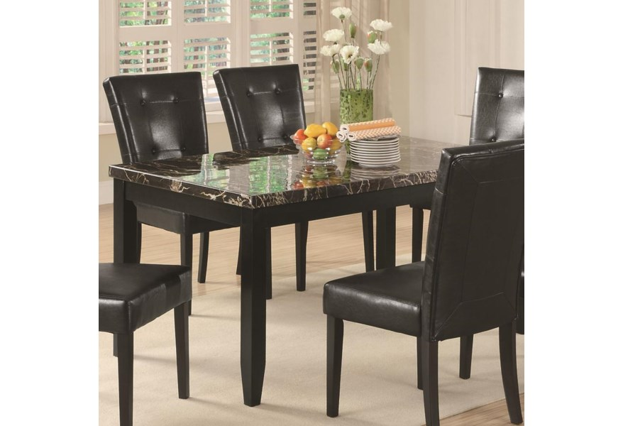 Anisa Dining Table with Black Faux Stone Top by Coaster at Northeast  Factory Direct