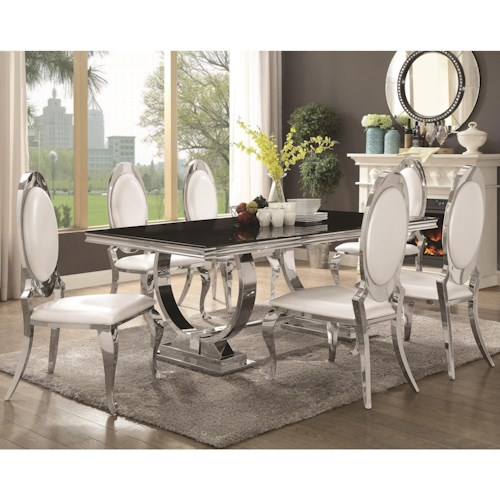 Coaster Antoine 7 Piece Dining Set with Stainless Steel Table