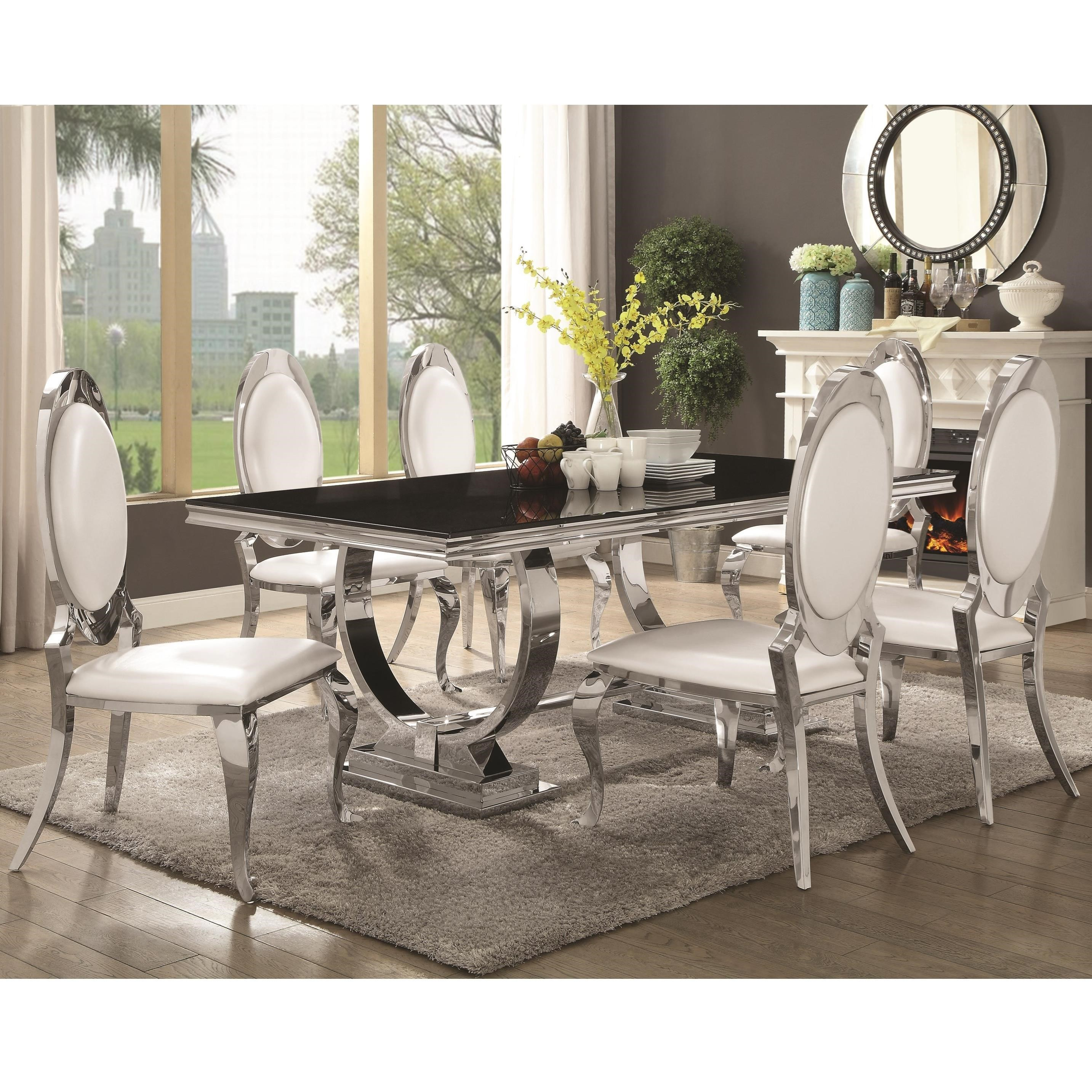 Coaster Antoine 7 Piece Dining Set With Stainless Steel Table | Miskelly  Furniture | Dining 7 (or More) Piece Sets