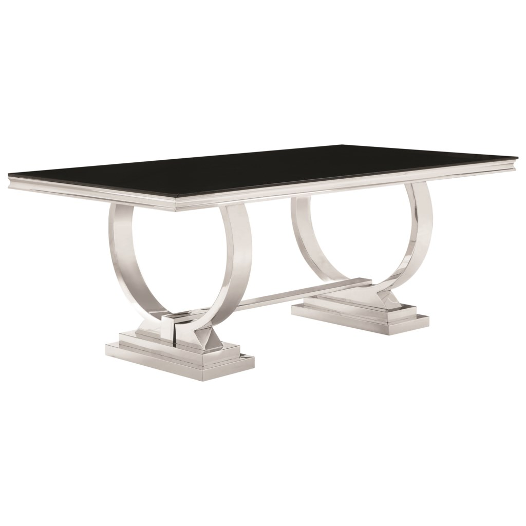 stainless steel dining table Coaster Antoine 107871 Stainless Steel Dining Table with Glass Top  stainless steel dining table