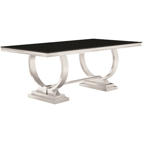 Coaster Antoine Stainless Steel Dining Table with Glass Top
