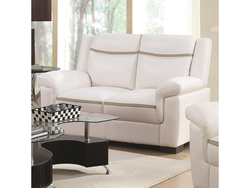 Coaster Arabella Contemporary Leatherette Loveseat   Miskelly ...