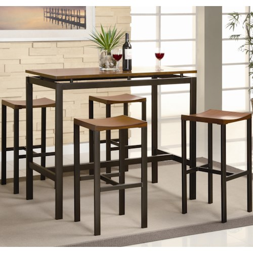 Coaster Atlus Counter Height Contemporary Black Metal Table with Warm Oak Top and 4 Stools