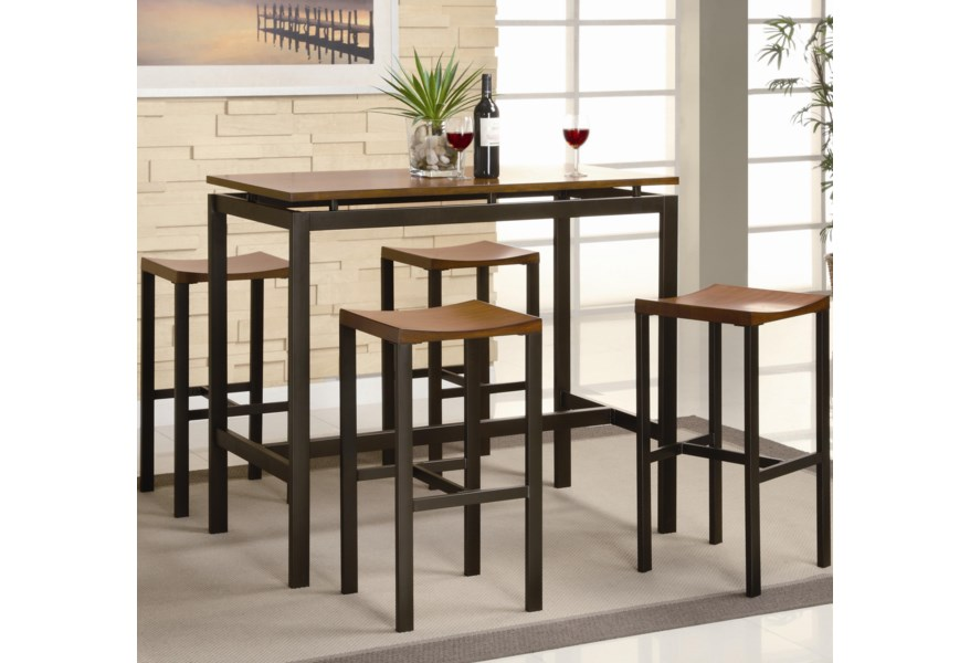Fabulous Atlus Counter Height Contemporary Black Metal Table With Warm Oak Top And 4 Stools By Coaster At Dunk Bright Furniture Unemploymentrelief Wooden Chair Designs For Living Room Unemploymentrelieforg